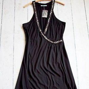 Velvet by Graham & Spencer Black Wrap midi Dress W
